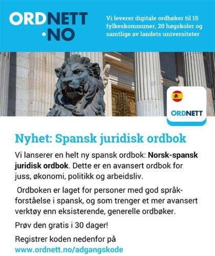 Kjøp Norsk-spansk juridisk ordbok elektronisk ordbok